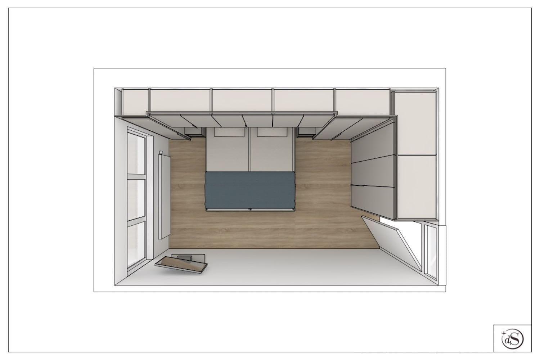 tekening bed met kastombouw