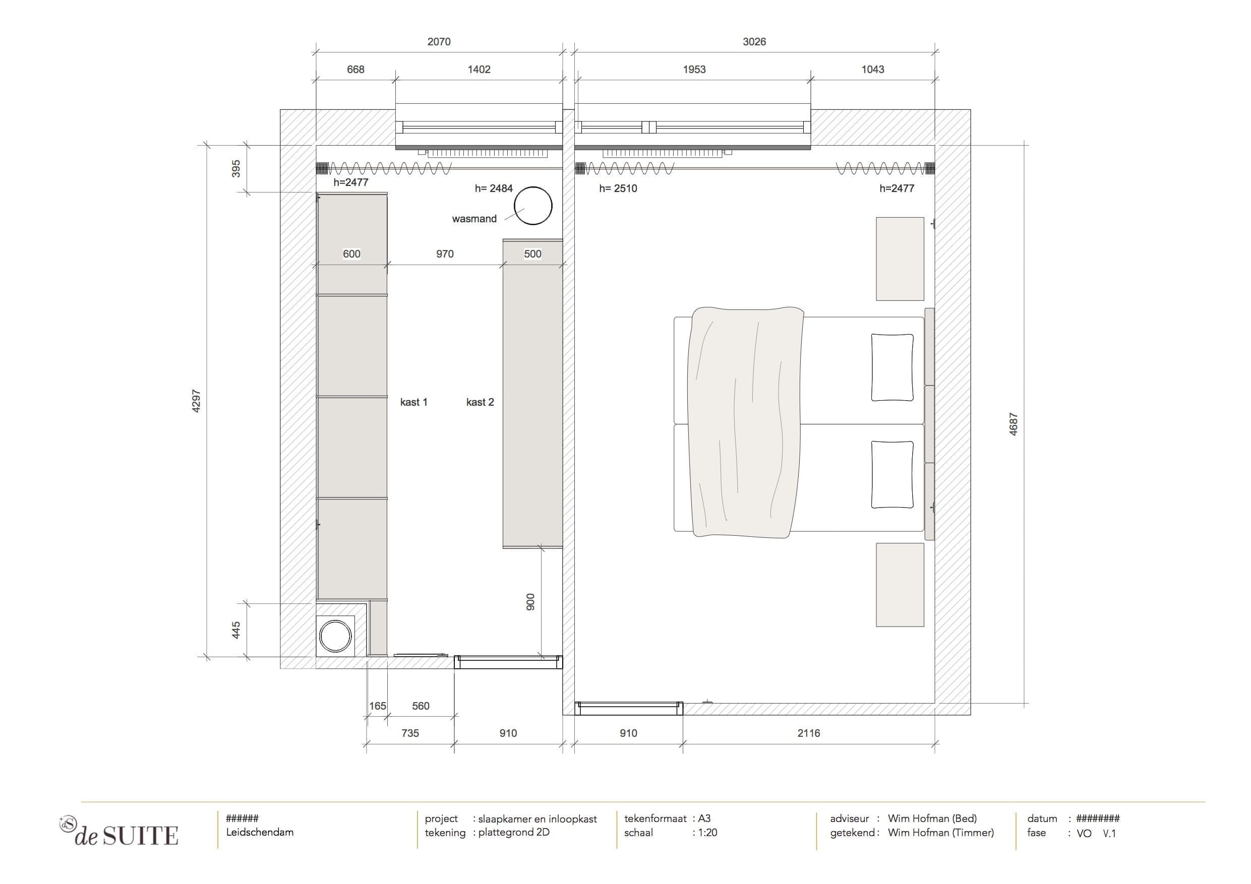 tekening kleine slaapkamer met inloopkast