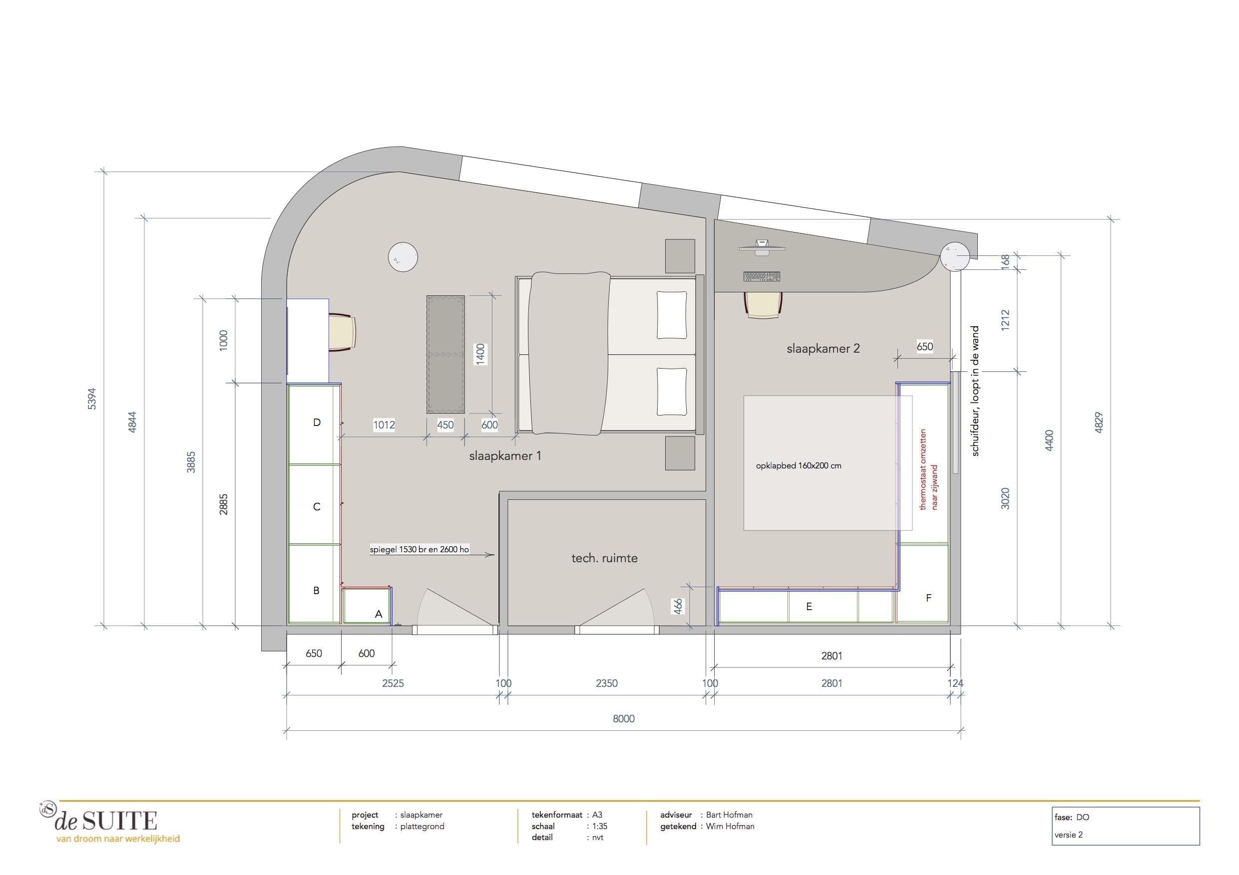 ontwerp tekening moderne slaapkamer