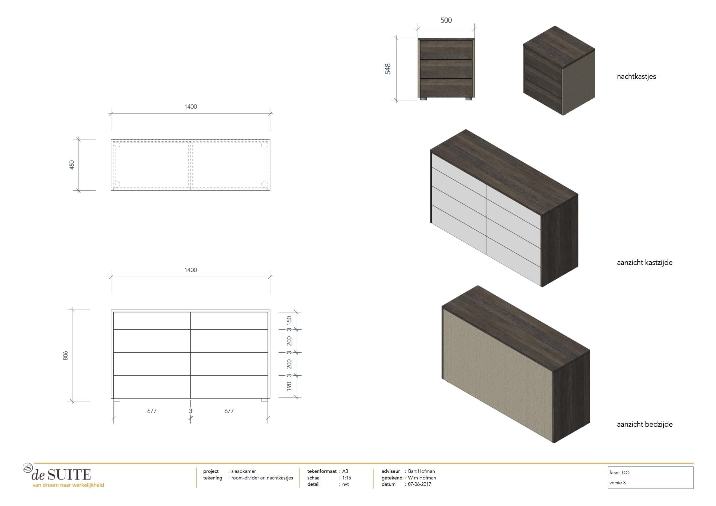 tekening room divider