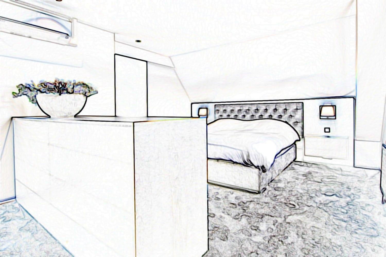 bed onder schuin dak 3D