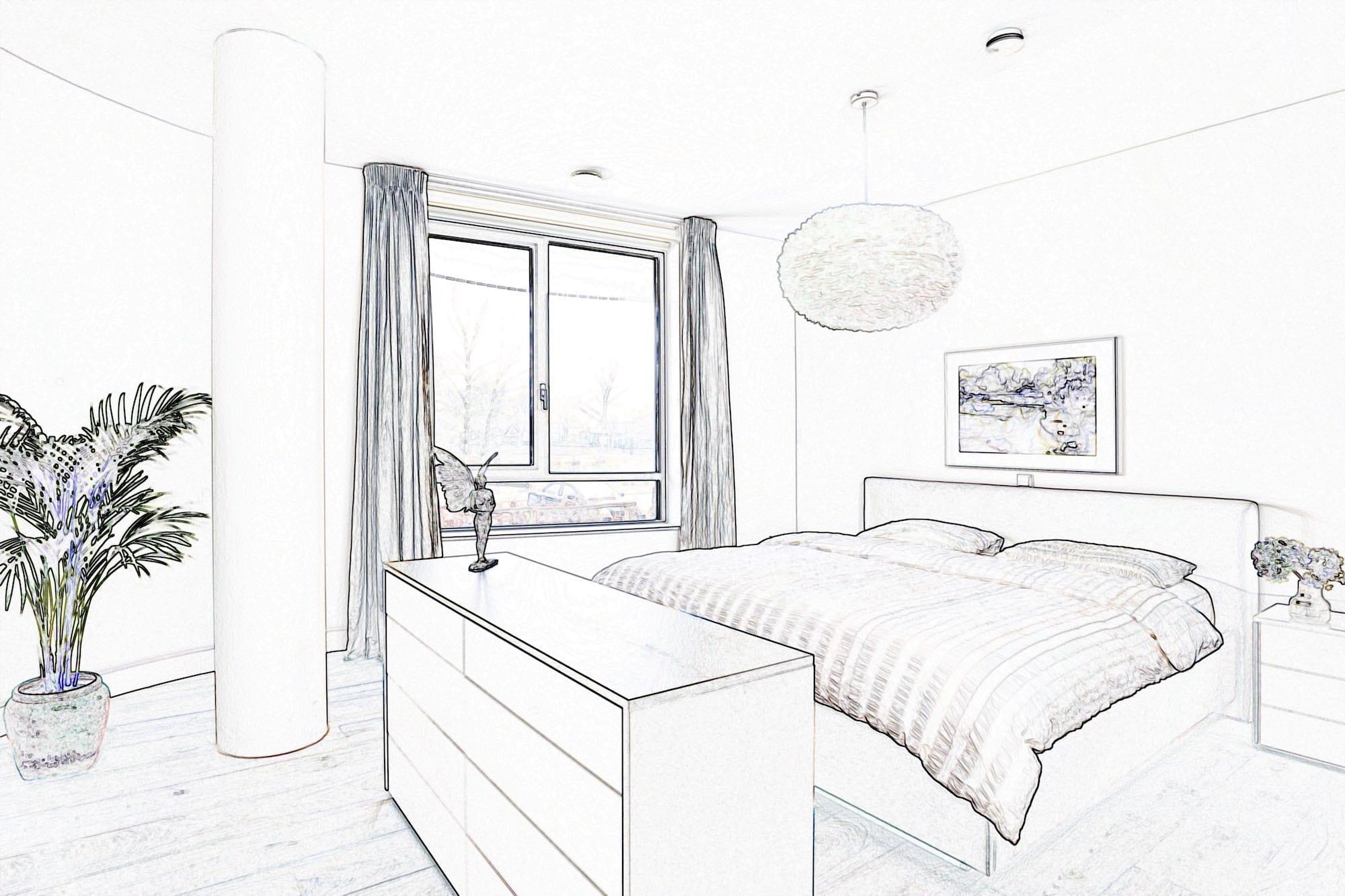 moderne slaapkamer 3D tekening