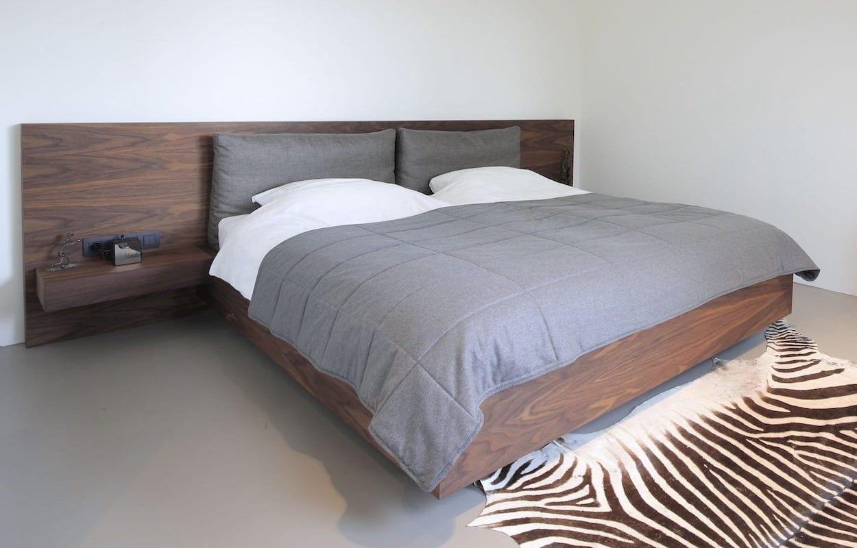 noten houten design bed