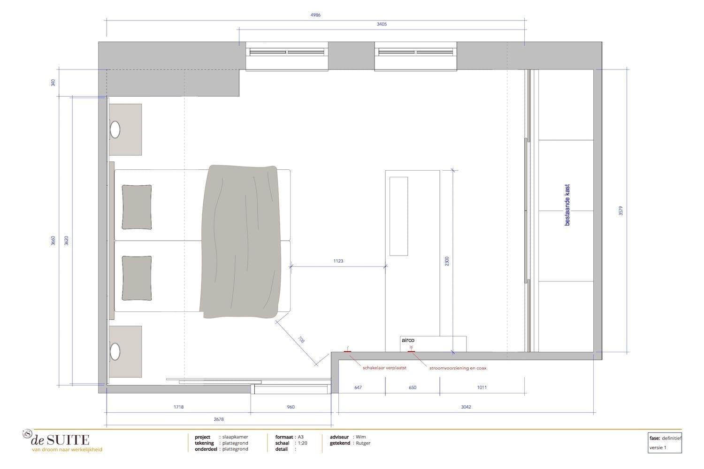 slaapkamer met schuin dak plattegrond