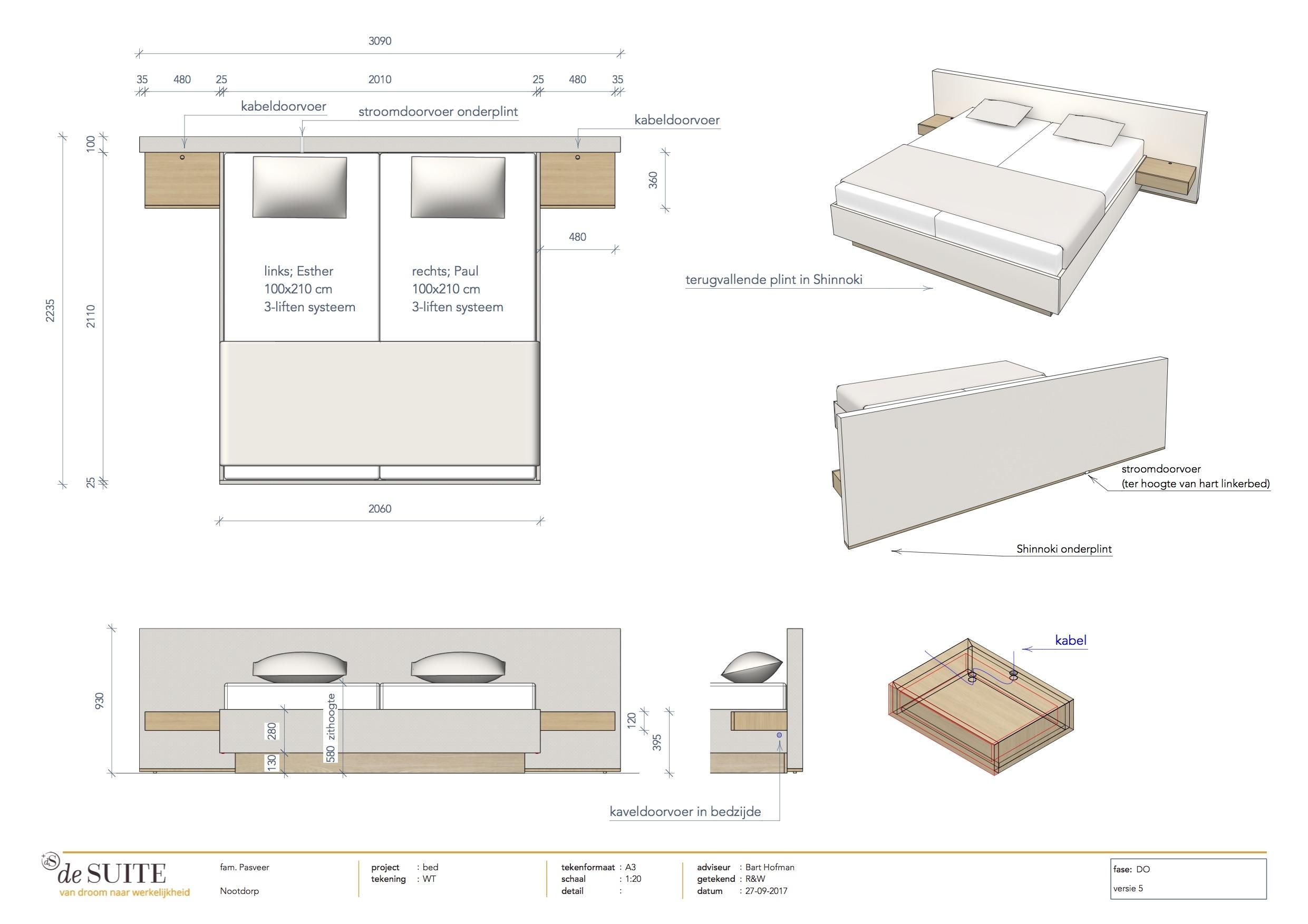 Design bed Ferrara tekening