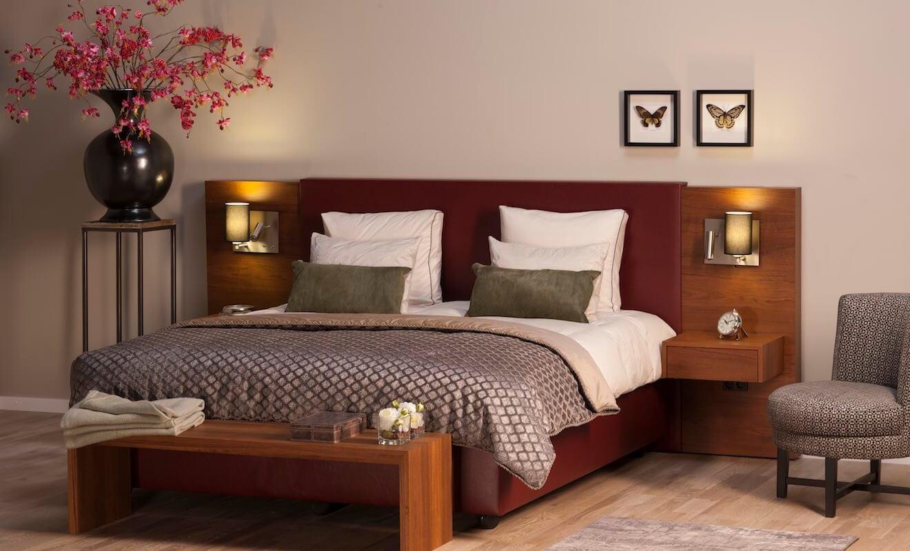 Luxe en design met dit stijlvolle hoog laag bed