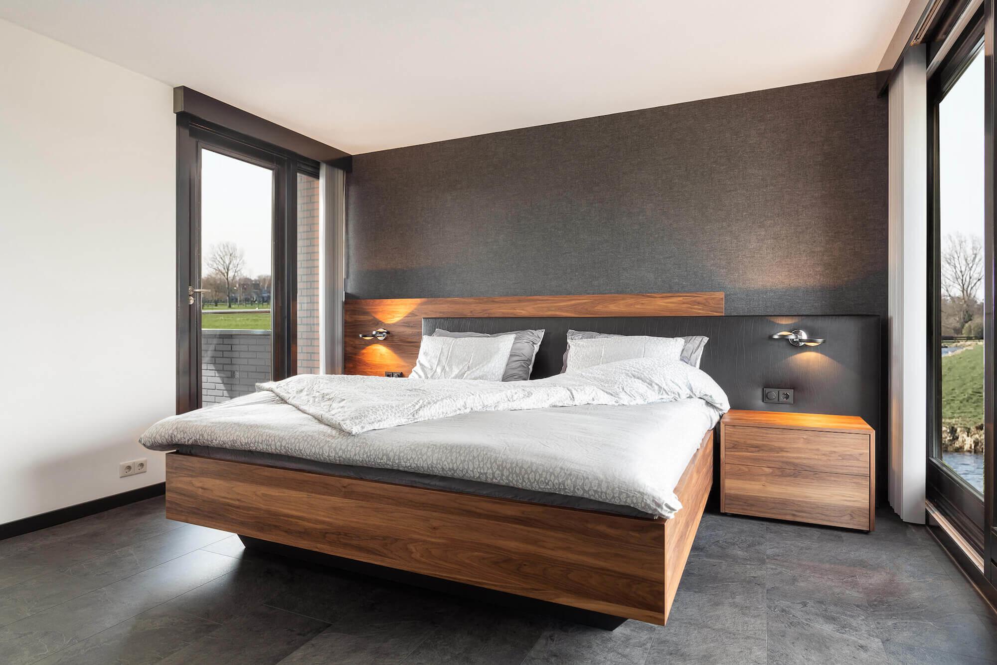 Houten design bed Duo Pezze