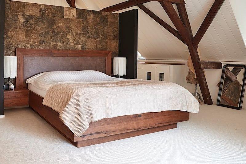 massief eiken houten bed Hoboken