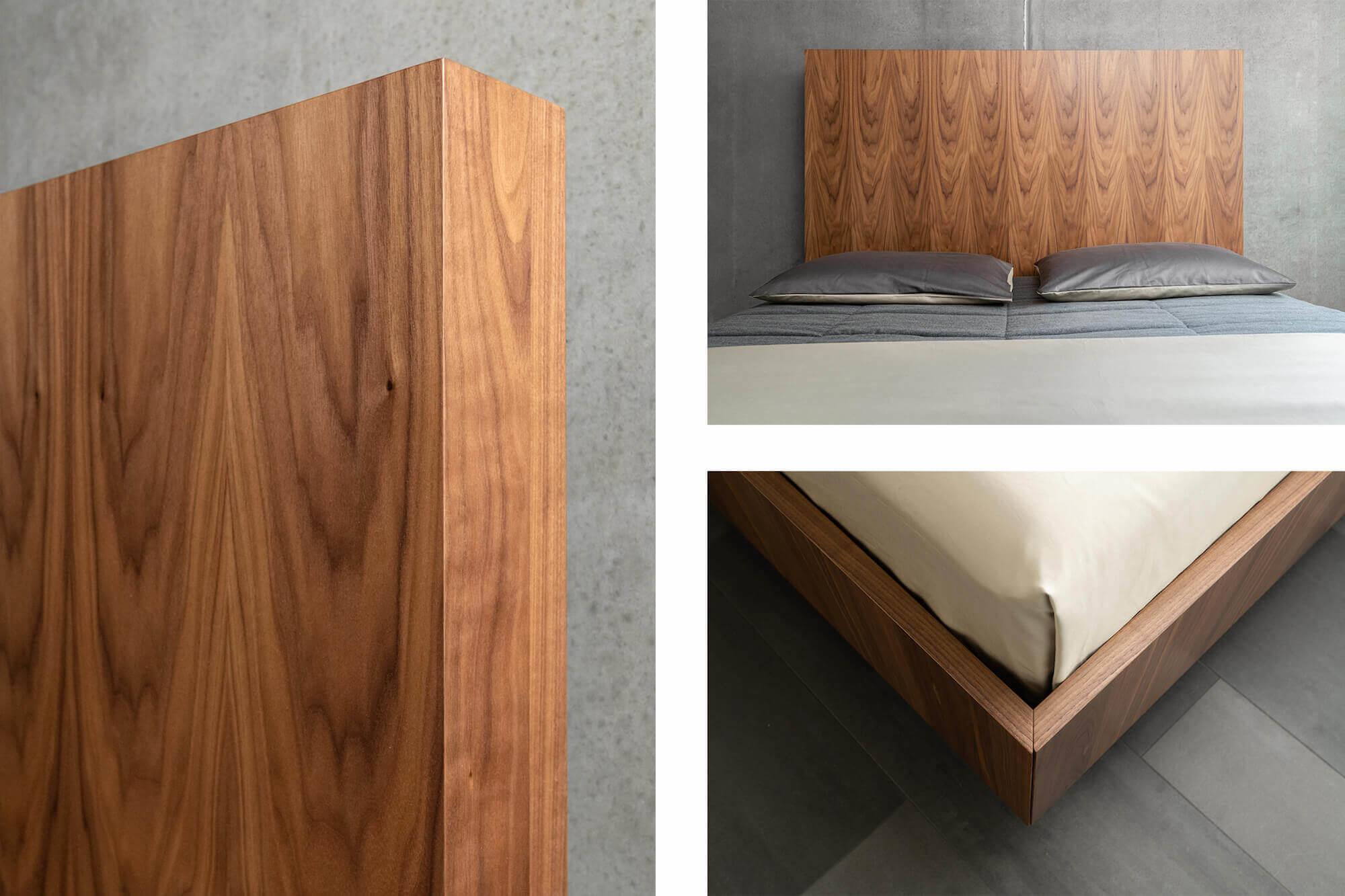 Details noten houten bed op maat