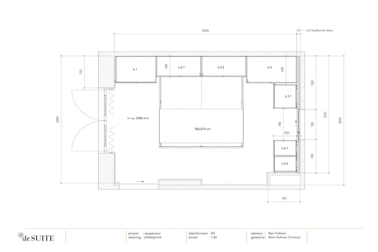 Tekening bed met kastombouw plattegrond