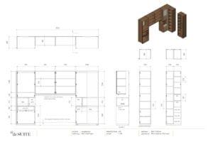 Interieur tekening bed met kastombouw