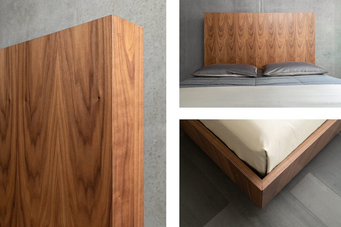 Details houten design bed op maat