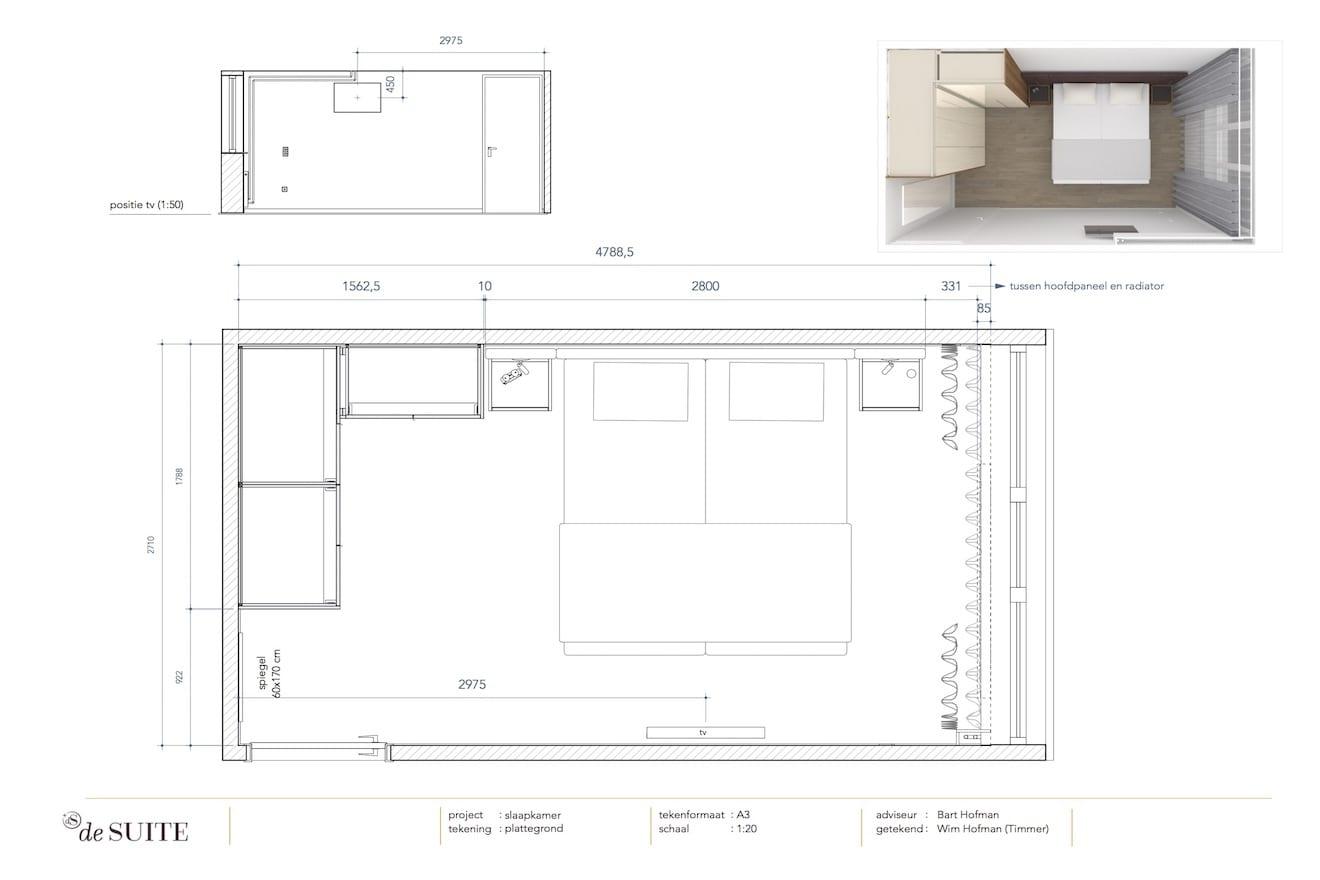 Plattegrond kleine slaapkamer
