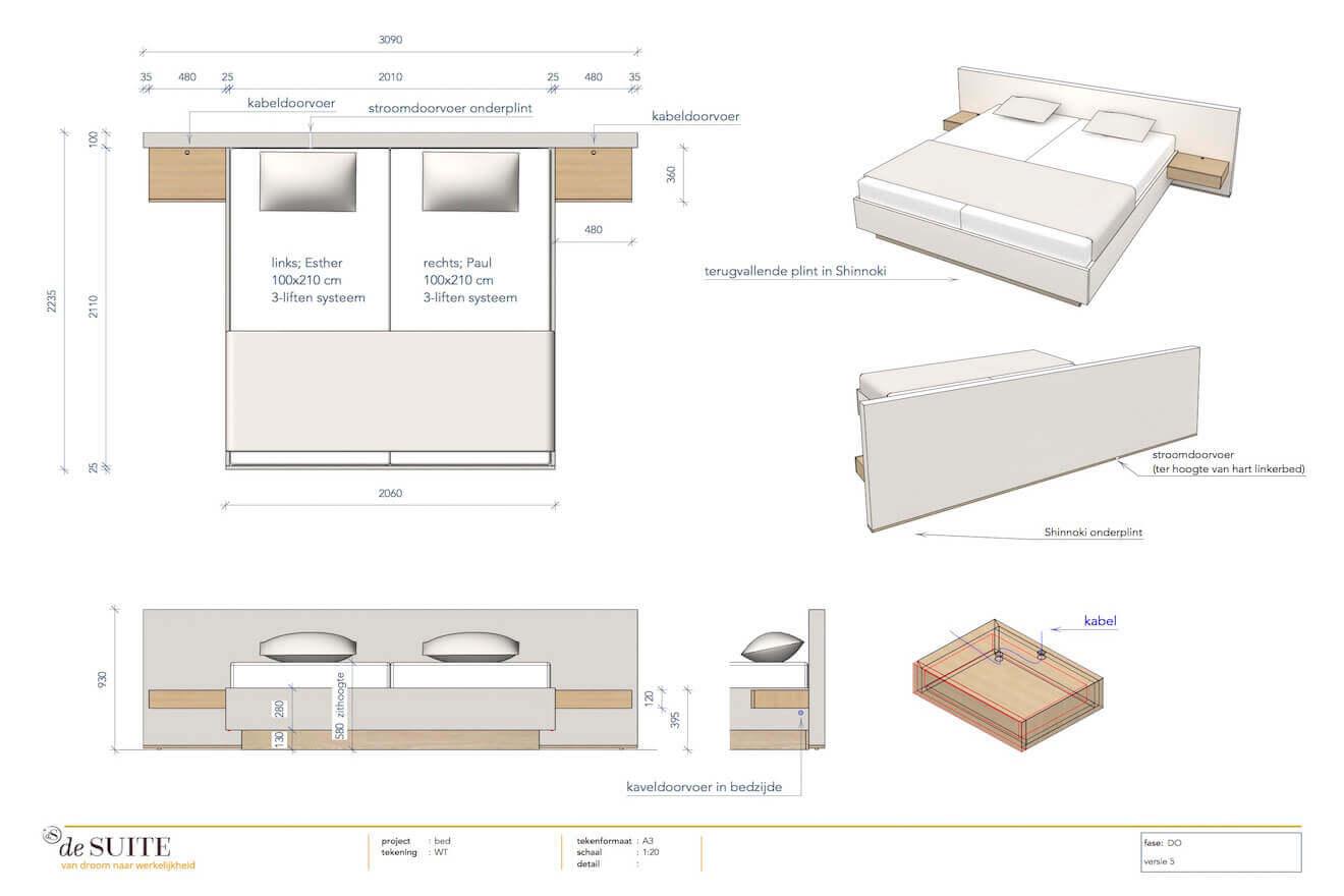 Tekening design bed Ferrara
