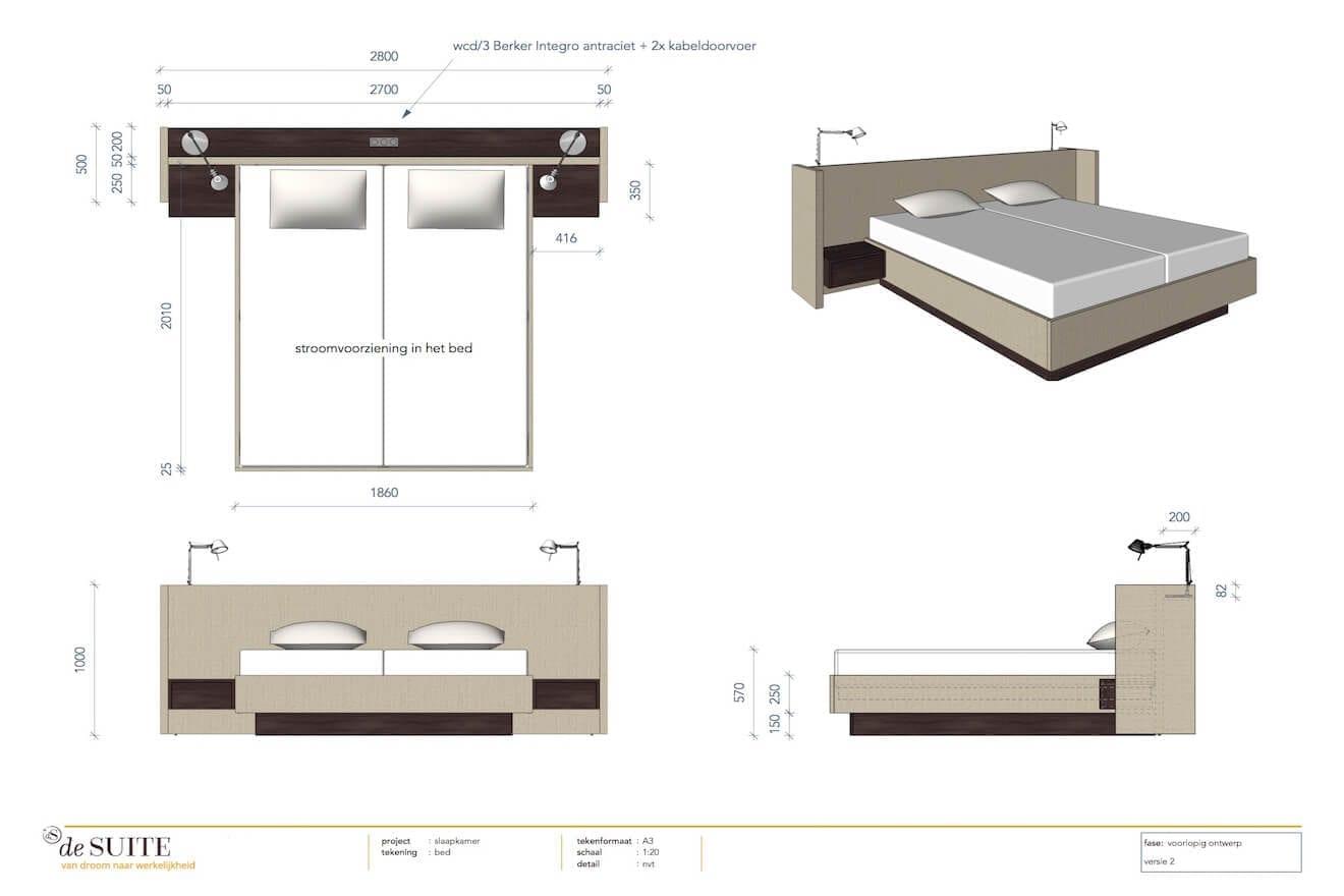 Tekening design bed op maat