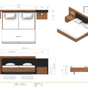 Tekening design bed Duo Pezze