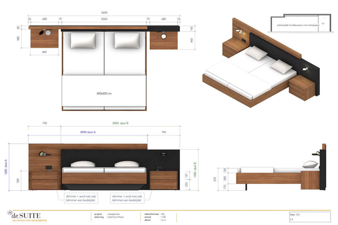 Tekening design bed Duo Pezze