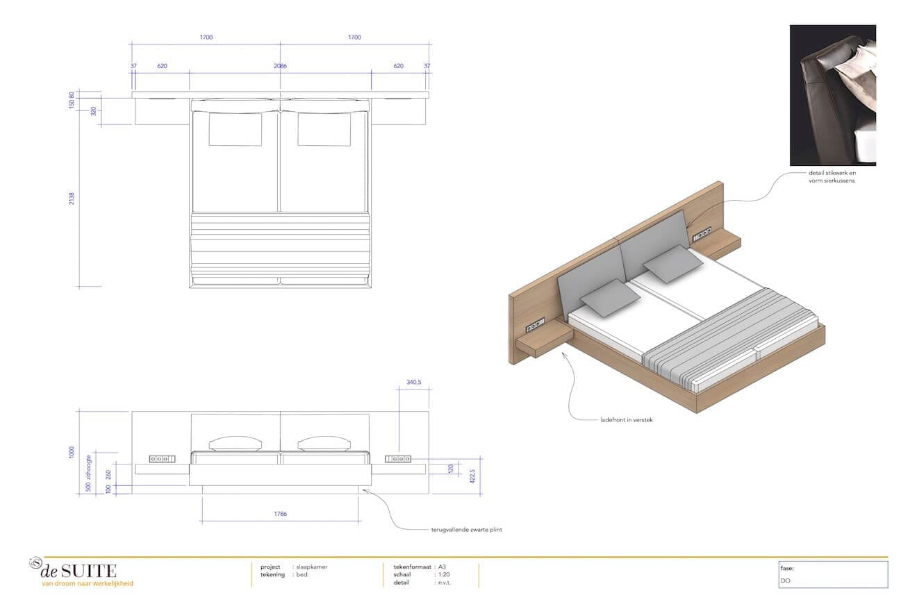 Tekening houten design bed Pace