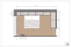 Tekening bed met kastombouw voor slaapkamer