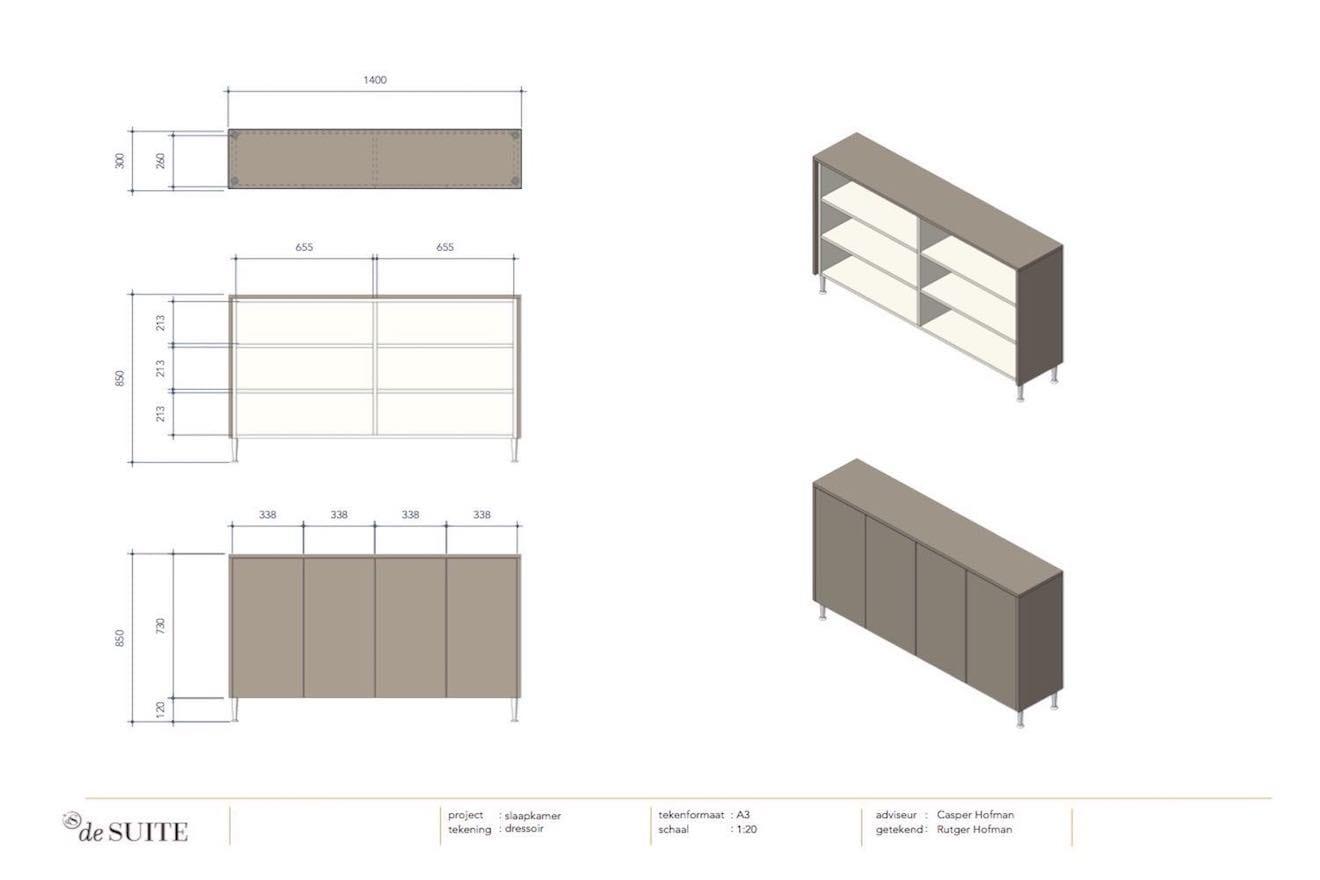 Ladekast tekening voor slaapkamer met kastombouw