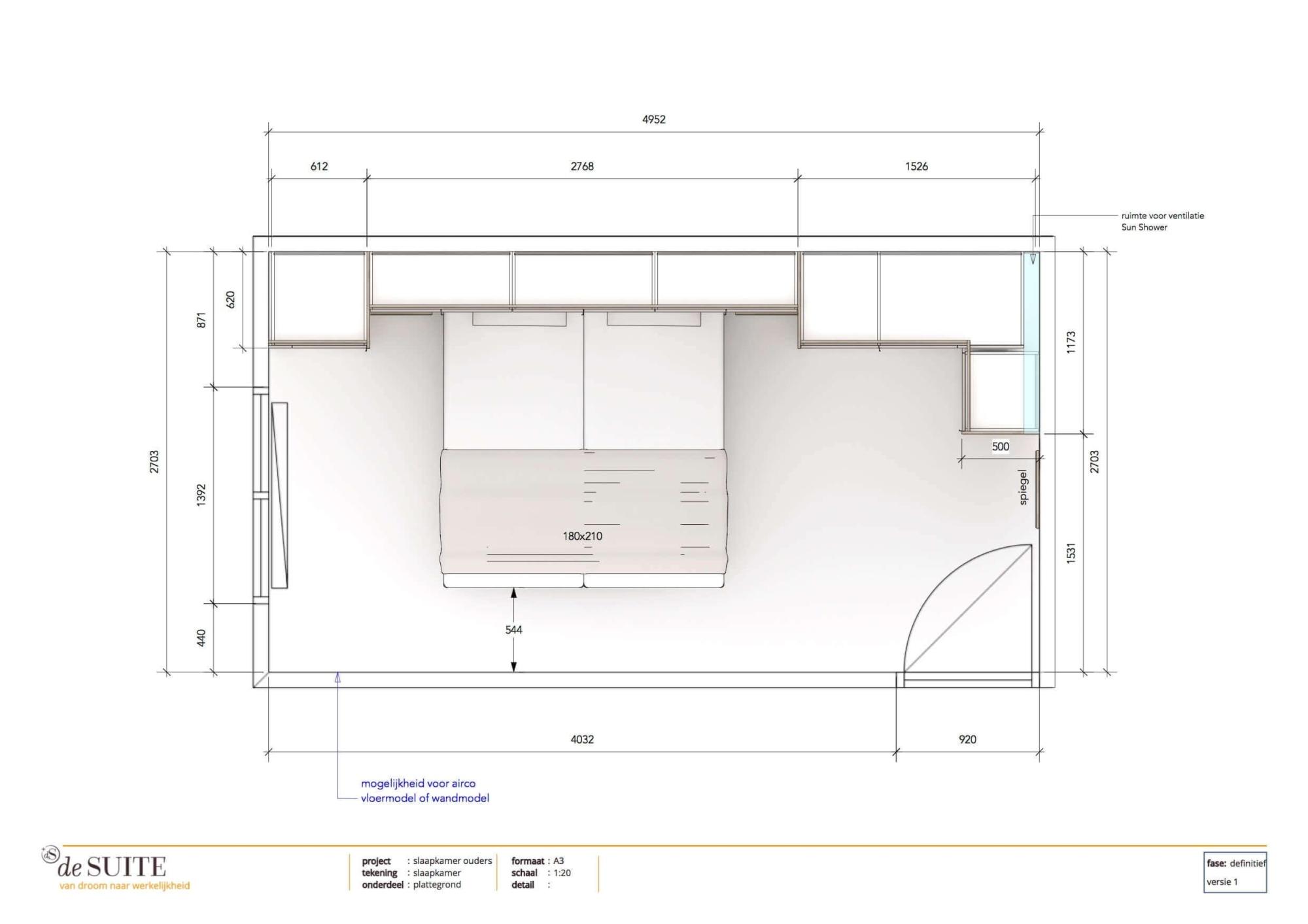 Plattegrond kleine slaapkamer met bedombouw en kastruimte