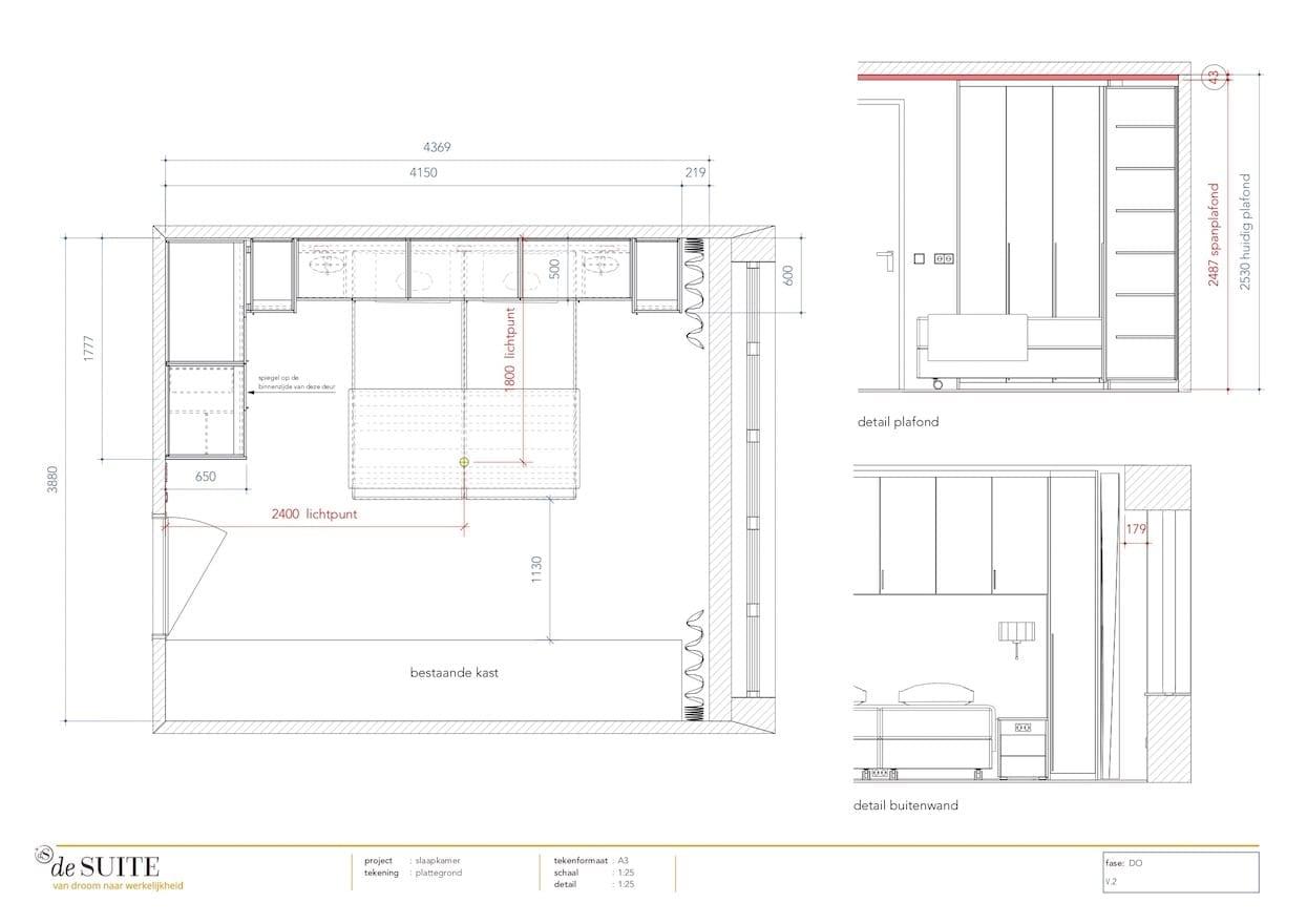 Plattegrond slaapkamer met kastombouw