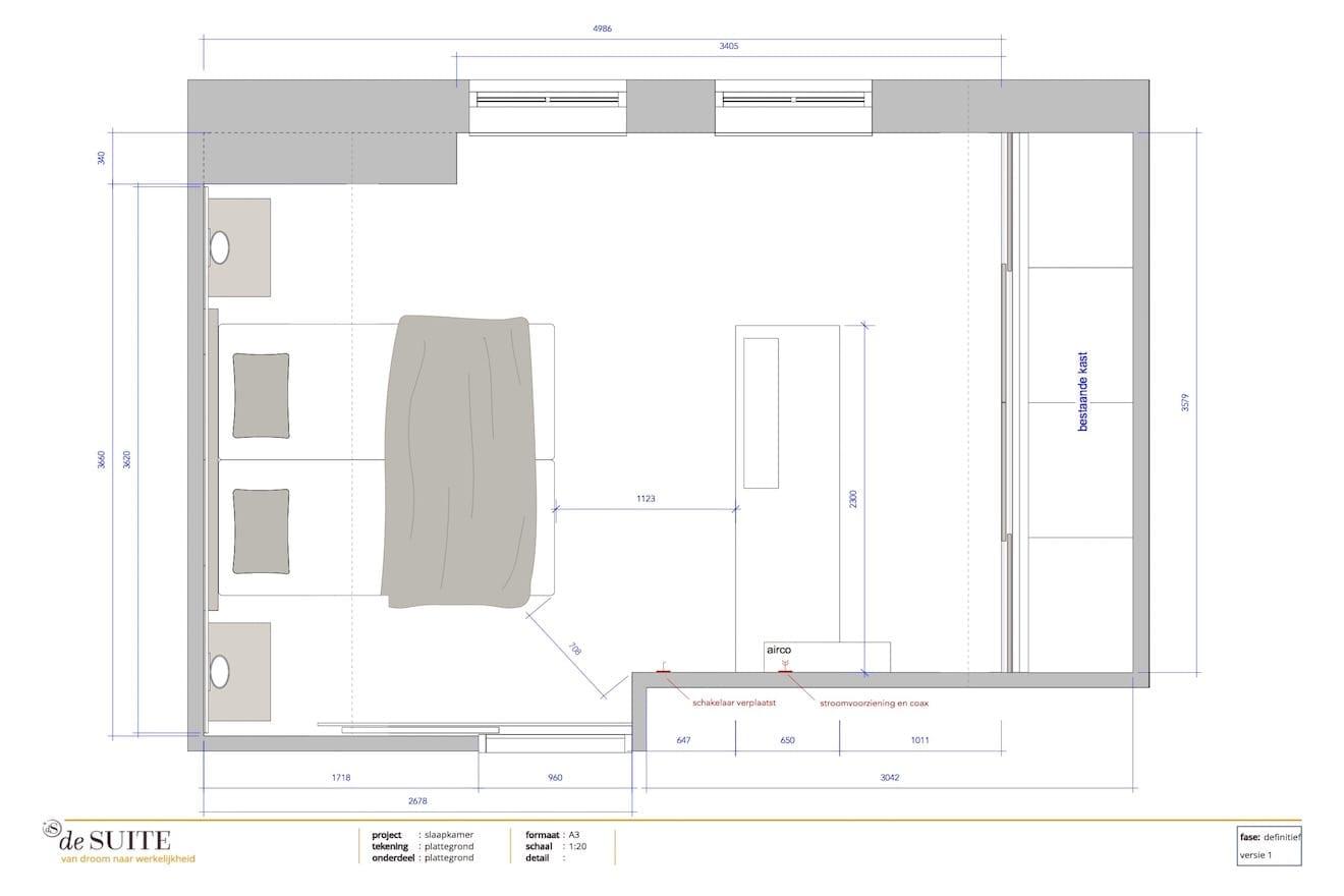 Plattegrond slaapkamer met schuin dak