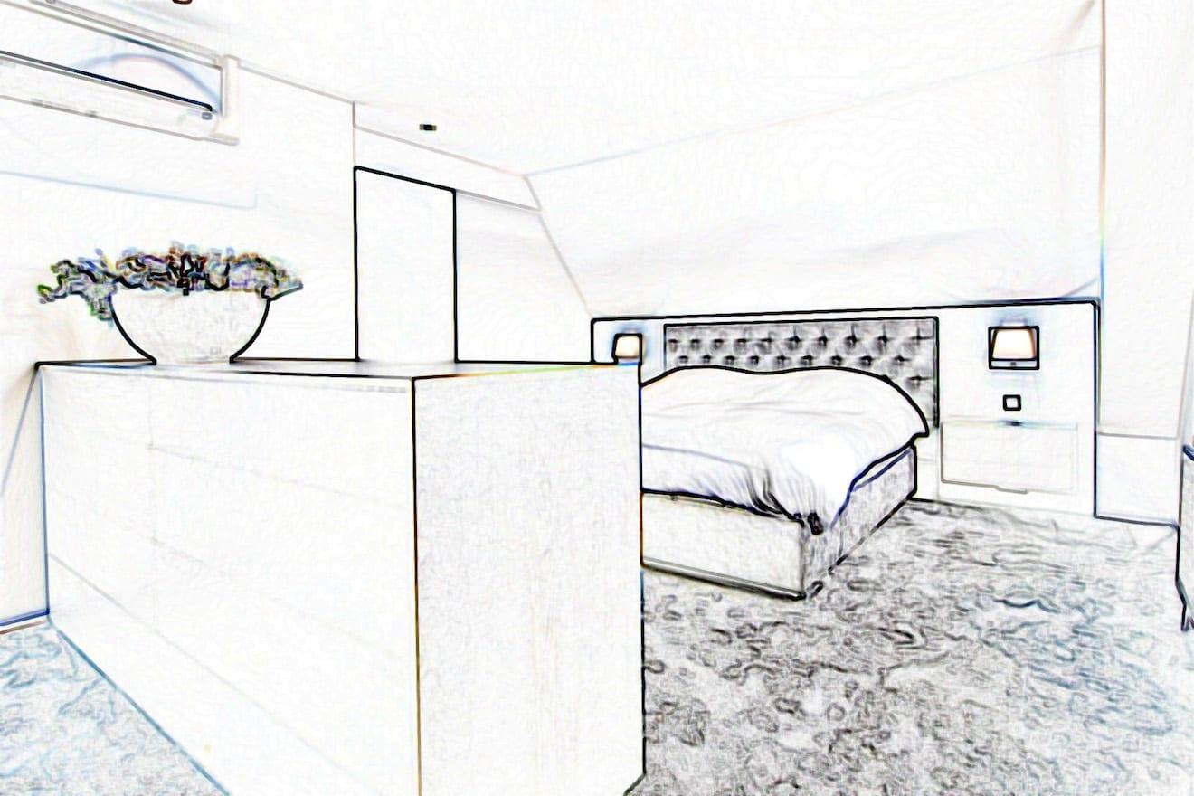 Impressie bed onder schuin dak