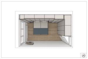 Tekening slaapkamer met kastombouw