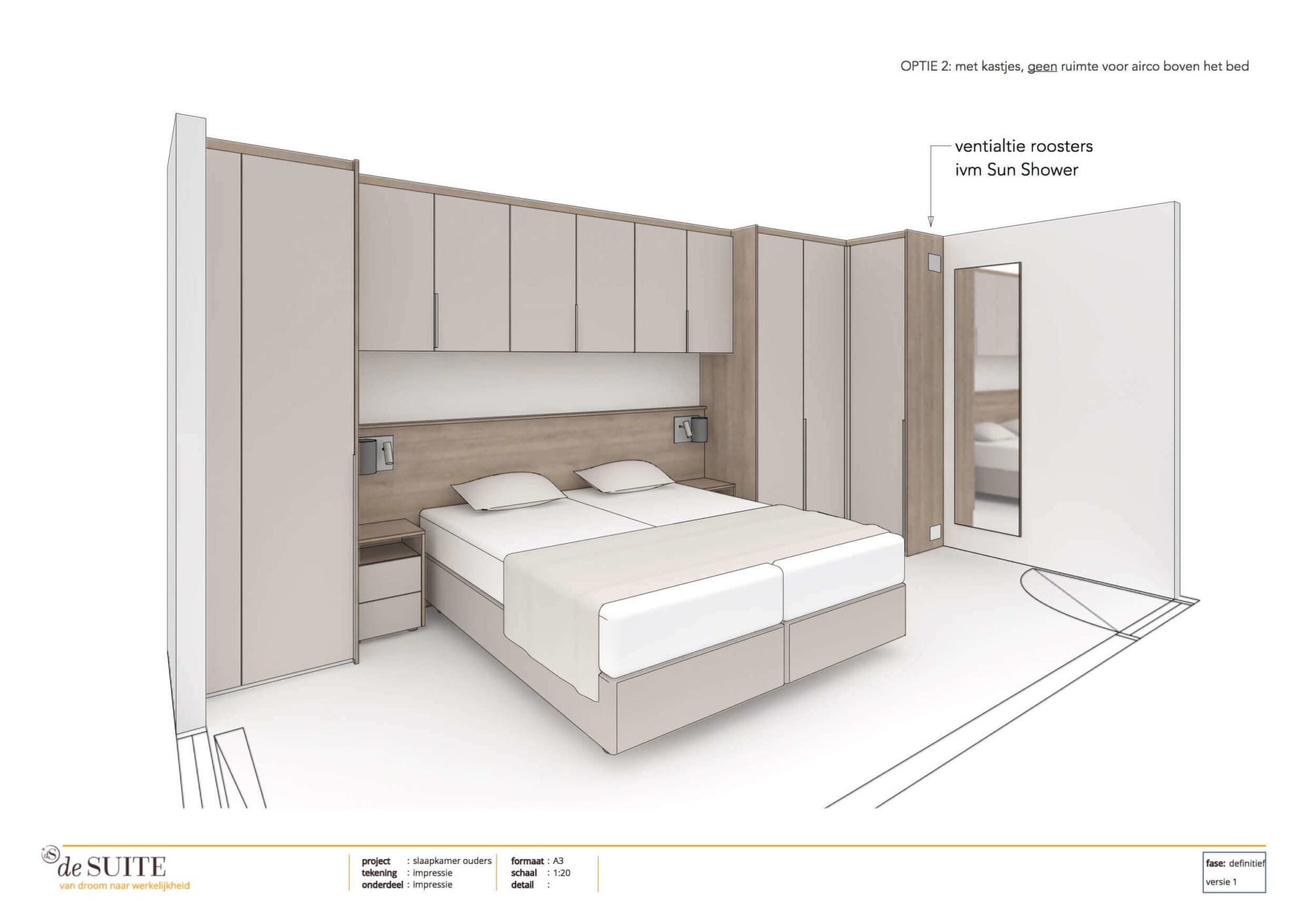 Tekening bedombouw met kastruimte in kleine slaapkamer