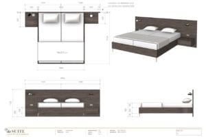 Tekening houten bed op maat