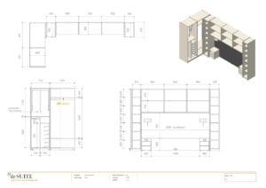 Tekening interieur bed met kastombouw