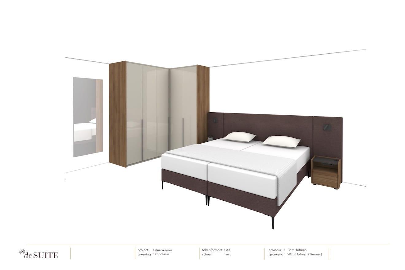 Tekening van kleine slaapkamer met bed en kast